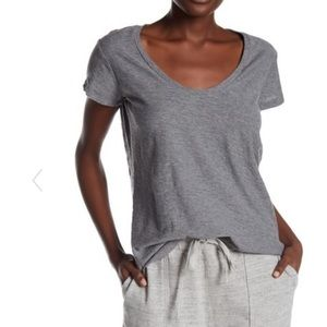 James Perse Deep V Neck T Shirt in Grey